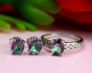 Natural Multicolor Mystic Topaz Gemstone 925 Sterling Silver Ring Earring Set