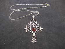"Vampire Diaries Red Crystal Sacred Heart Memorial Cross Necklace/19"" Chain"