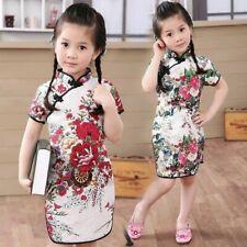 Kids Girls Cheongsam Princess Dress Chinese Traditional Cotton Linen Floral Gown