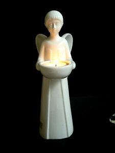 Tiziano Porzellan Engel, mit Teelichthalter H - 25cm