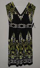 Sandra Darren Women's Multi Color BOHO FLORAL Geo Cap Sleeves Dress SZ 10