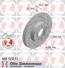 Disque de frein avant ZIMMERMANN PERCE 600.3212.52 VW TRANSPORTER T4 Camion plat