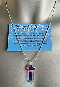 Titanium Aura Rainbow Quartz Crystal Pendant Gemstone Necklace Healing Chakra