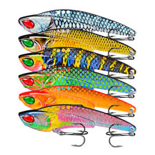 6pcs Metal Lead Jig Fishing VIB Lure Saltwater Sequins Spoons Bait &Treble Hooks