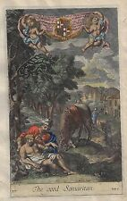 Blome's Antique Bible Print - THE GOOD SAMARITAN - Hand-Colored Engraving  -1701