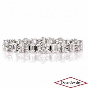 Vintage GIA 12.27ct Diamond Platinum Classic Cocktail Line Bracelet 26.4 Grams