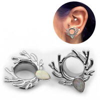 Stainless Steel Deer Screw Ear Gauges Flesh Tunnels Plugs Stretchers LS
