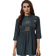 Women Indian Pakistani Kurti Kurta Short Embroidery Rayon Top Shirt Tunic Dress