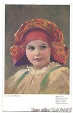 POSTCARD 1922 Moravian girl painting MUTTICH Czech art Turkish Turkey red shawl