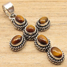 Genuine TIGER'S EYE Gems Online Jewelry Stores CROSS Pendant , 925 Silver Plated
