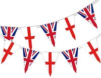 Happy St George Day England and British National Flags - Bunting Banner 15 flags