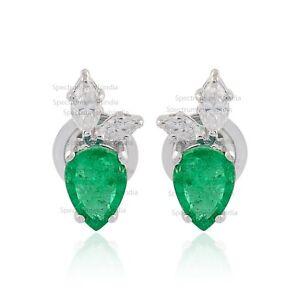 18k White Gold 1.43 TCW Emerald Gemstone SI/HI Diamond Stud Earrings Jewelry New