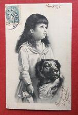 CPA. 1906. Petite Fille. Grand Chien. Un Coin très Abîmé.