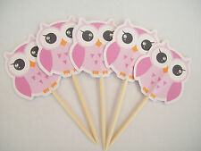 Handmade Girl owl food picks / cupcake toppers