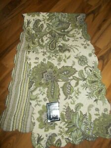 """Quilted  Reversible Runner  C&F Home Leaves 14""""Xx 51"""" Green Creme Gray Table"""