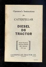 1960's CATERPILLAR D8 TRACTOR OPERATOR'S MANUAL / 12518-1