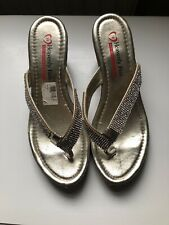 Heavenly Feet Wedge Flip Flops Size 38 Sparkle