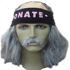 THE OLD RUNNER. GREY BALD TOP FANCY DRESS WIG+HEADBAND+DROOP MOUSTACHE