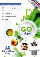 GO Inkjet A4 Photo Paper Glossy 100 Sheets 230gsm for Inkjet Printers Premium