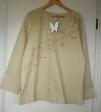 Ladies Size XXL Light Brown Long Sleeve Polyester Cotton Blouse Top