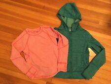 Lot 2 Girls LL Bean Layering Long Sleeve Shirt + Hoodie, Thumb loops, S 8 L 6x /