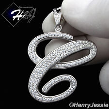 "MEN 925 STERLING SILVER LAB DIAMOND ICED BLING INITIAL LETTER ""C"" PENDANT*SP141"