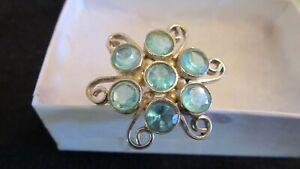 925 Sterling Silver Genuine Gemstone Blue Topaz Cocktail Fashion Ring SZ7 2.60cw