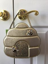 NWT Kate Spade Down The Rabbit Hole Gold Leather Beehive Crossbody Bag Mom Day