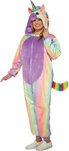 Magical Rainbow Unicorn Hooded Jumpsuit Cozy Adult Unisex Halloween Costume PLUS