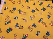 2 1/2 YARDS OF VINTAGE YELLOW CONCORD FABRICS KIDS PRINT POLYESTER FABRIC