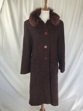 Vintage Wool Blend Dark Magenta Madeline by Alorna S/M Coat with Faux Fur Collar