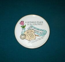 "Hallmark Mug Mates Ceramic Coaster - ""A Woman's Place Is In Control"" - 1980's"