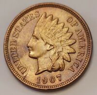 1907 Indian Head Cent Grading AU/UNC Nice Coin Priced Right FREE S&H   i89