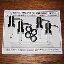 4 Soap Dispenser Pump Replacement Tops STAINLESS STEEL Jack Daniels Wine Bottles