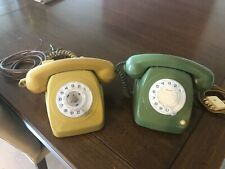 Two Retro Vintage Cream & Green Rotary Dial Phone Telephone
