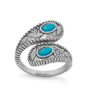 14K White Gold Plated Oval Cut Turquoise Wrap Ring with Adjustable Swirl Design