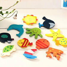 New 12Pcs/Set Wooden Cartoon Animal Fridge Magnet Child DIY Educational Toys