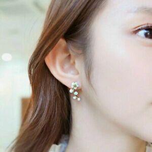 Pearl Gold Flower Leaf Ear Stud Earrings 5