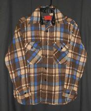 Vtg Wool Shirt Plaid CPO Anchor Buttons Sears Kings Road Hiking Camping Medium