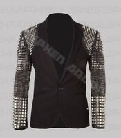 New Men's Black Full Silver Studded On Sleeves Punk Unique Cowhide Leather Coat