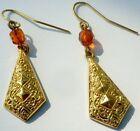 boucles d'oreilles percées bijou vintage couleur or pendantes perle orange 4444