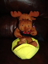 """Moose w/ Snow Shovel and Sitting in a Sled Plush Doll 10"""""""