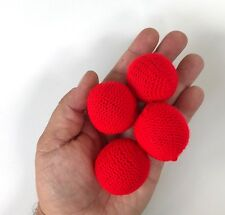 """Large 4 Red Crocheted Magic Load Balls Production Chop Cup Prop Set Crochet 1.5"""""""