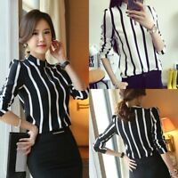 Women's Sexy Long Sleeve Chiffon Tops OL Office Lady Loose Striped Shirt Blouse