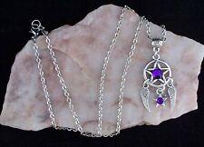 Purple Diamante Pentagram,Star & Angel Wings,Tibetan Silver Chain Necklace.