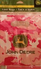 8 John Deere Pink Camo Farm Tractor Party Favor Loot Treat Cello Bags