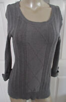 Miss Guided Sweater Gray 3/4 Sleeve Scoop Neck Women's Large