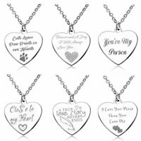 Fashion Stainless Steel Letters Pendant Necklace Couple Friendship Jewelry Gift