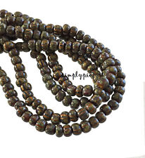 4/0 Czech Aged Brown Striped Picasso 6-Inch Long Strand/50B Glass Seed Beads