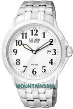 CITIZEN Eco-Drive Watch, Low Charge Indicator,S/Steel,WR100,Date,Mens,BM7090-51A